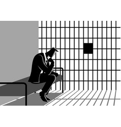 a businessman in jail vector image