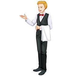 A smiling waiter vector image