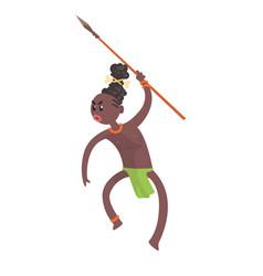 Aggressive black skinned aboriginal warrior vector