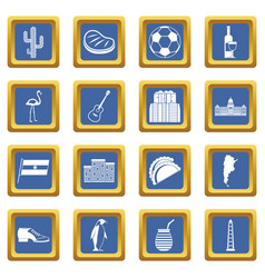 Argentina travel items icons set blue vector