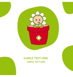 baby dressed in a flower pot vector image vector image