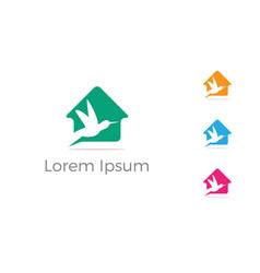 bird logo design pigeon in home vector image
