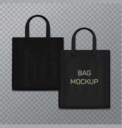 Black realistic shoping bag template isolated on vector
