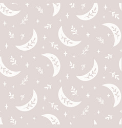 Boho seamless pattern with crescent star vector