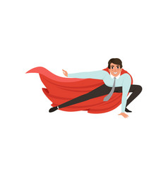 Business man with superhero mantle in landing vector