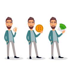 businessman cartoon character set vector image