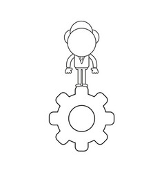 businessman character standing on gear black vector image