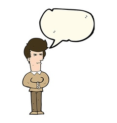 cartoon man narrowing his eyes with speech bubble vector image