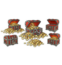 cartoon set pirate treasure chests open and vector image
