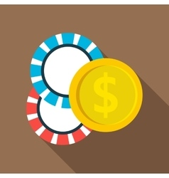 Casino chips icon flat style vector image