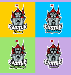 castle logo set for team company property and game vector image