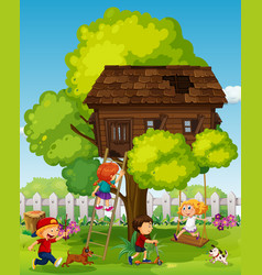 children playing in the treehouse vector image