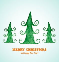 Christmas card with watercolor Christmas trees vector image