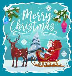 christmas sleigh with santa xmas gifts and deer vector image