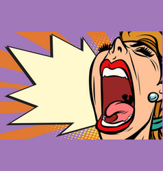 Close-up face pop art woman screaming rage vector