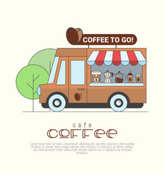 Coffee truck concept with thin line icons vector