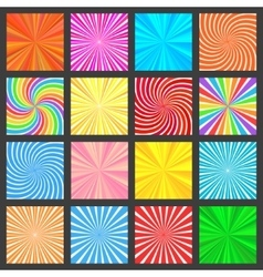 Colorful Fanning Rays Backgrounds Set vector image