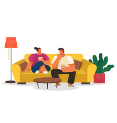 couple eating popcorn and watching films at home vector image