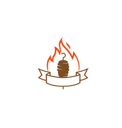 creative abstract kebab meat firelogo design vector image