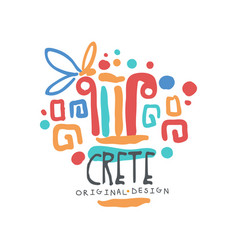 crete island logo template original design exotic vector image