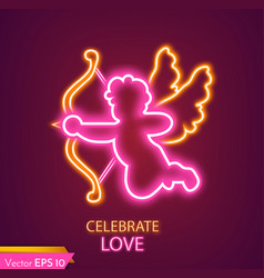 cupid card neon light realistic valentine vector image