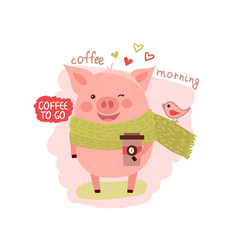 cute cartoon pig wearing in scarf with the cup of vector image