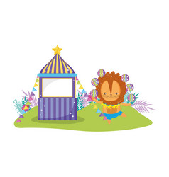 cute lion circus in kiosk vector image