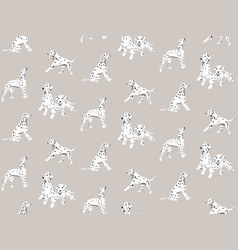dalmatian cartoon hand-drawn seamless pattern vector image