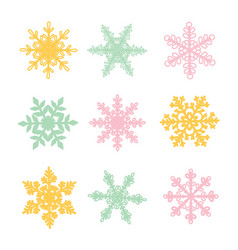 different color snowflakes on a white background vector image