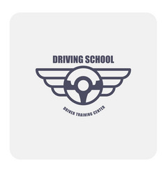 Driving school emblem - winged steering wheel vector
