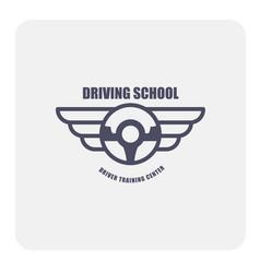 driving school emblem - winged steering wheel vector image