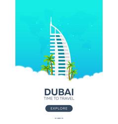 Dubai uae time to travel travel poster vector
