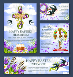 Easter cross with flower banner or poster template vector