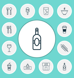 eating icons set collection of silverware vector image