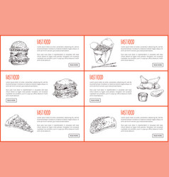 Fast food or take away landing page with text vector