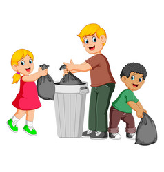 Father and his kids to throw away garbage vector