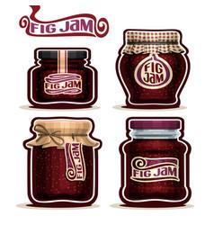 fig jam in glass jars vector image