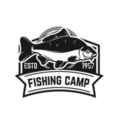 fishing camp emblem template with carp fish vector image