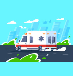 flat hospital car fast driving is in a hurry to vector image