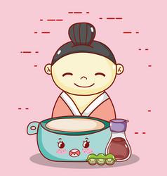 geisha with bowl sake and peas kawaii food vector image