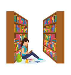 Girl in library reading book and working vector