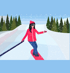 girl snowboarder sliding down taking selfie photo vector image