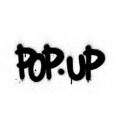Graffiti pop up text sprayed in black over white vector