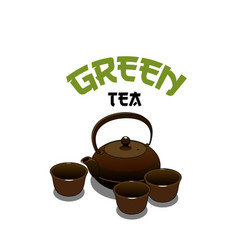 green tea pot icon for japanese cuisine vector image