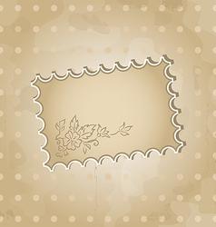 Grunge background with vintage floral label vector image