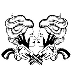 hand drawn of couple of women with vintage guns vector image