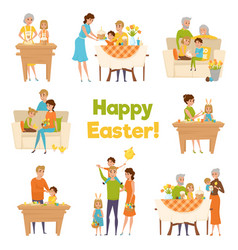 Happy easter family set vector
