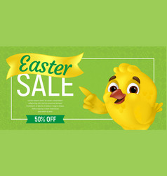 Happy easter sale web banner or flier template vector