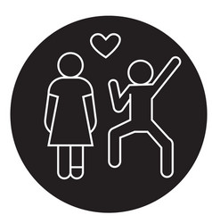 happy love couple black concept icon happy vector image