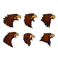 Hawk heraldic mascot icons set vector